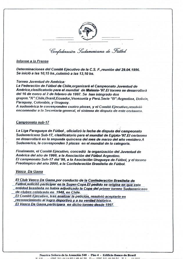 Vasco com Status de Bi Campeão da Liberta - Conmebol reconhece oficialmente em seu site título do Vasco em 1948 20120207conmebolreconhecimento1948