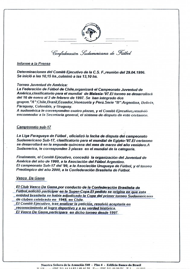 Vasco com Status de Bi Campeão da Liberta - Conmebol reconhece oficialmente em seu site título do Vasco em 1948 20130607conmebol1996