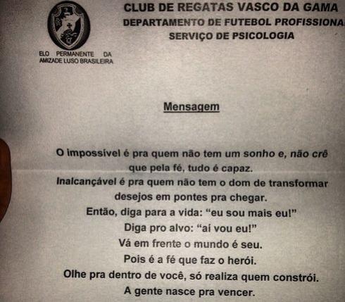 André Revela Carta Motivacional Da Psicologia Do Vasco Para