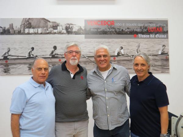 Da esquerda para a direita: Paulo Mahomed (VP de Remo), Antônio Peralta (VP Geral e de Comunicação), Roberto Dinamite e Jefferson Mello, da Jeff Sports