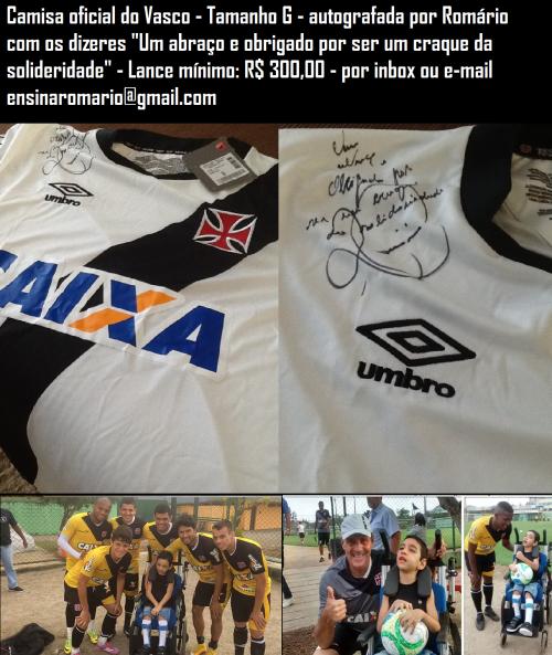 62b0ff4107 Blog promove leilão de camisa do Vasco autografada por Romário em prol do  pequeno torcedor João