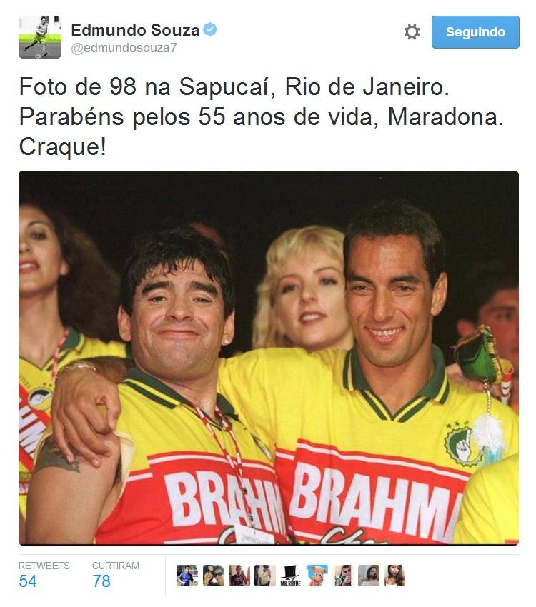 087a2edb58 Edmundo publica foto de 1998 com Maradona e parabeniza o argentino ...