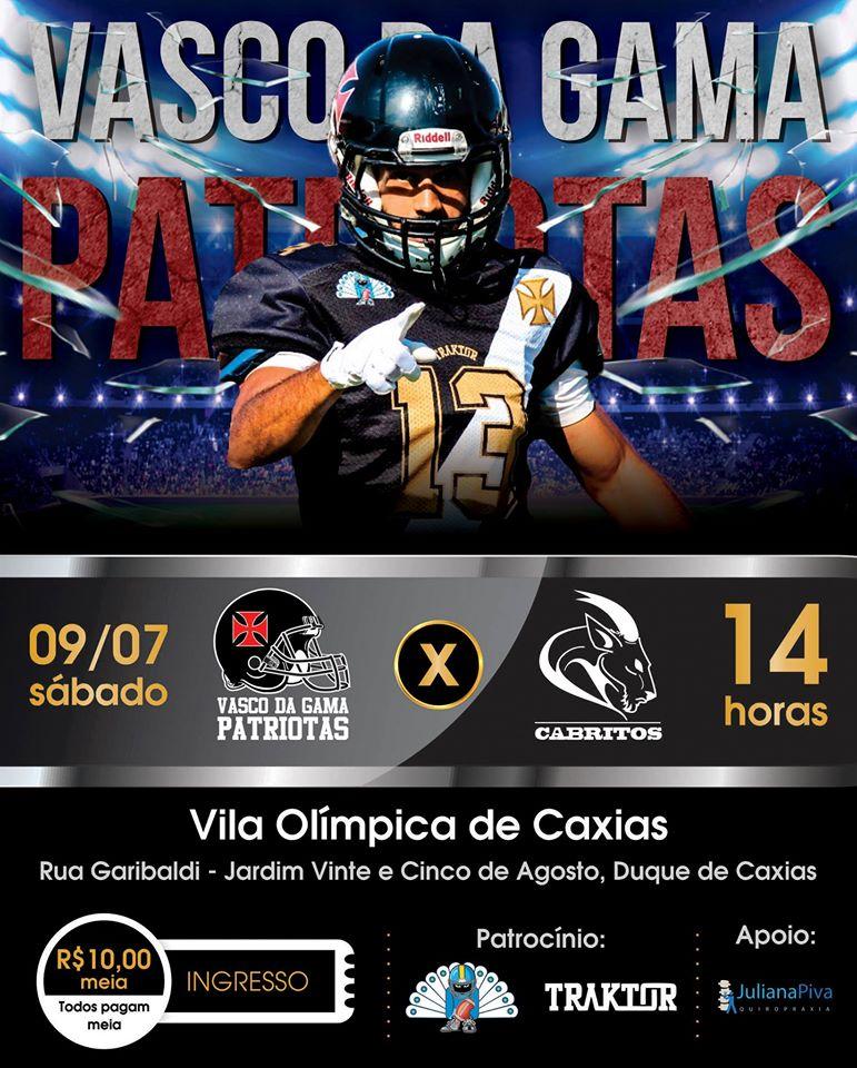 2969e75e2b Futebol Americano  Vasco Patriotas convoca para estreia no ...