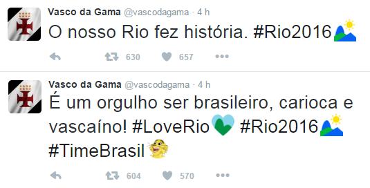 Twitter oficial do Vasco exalta abertura dos Jogos Olímpicos   O nosso Rio  fez história  - NETVASCO 3d80e4c9cdcee