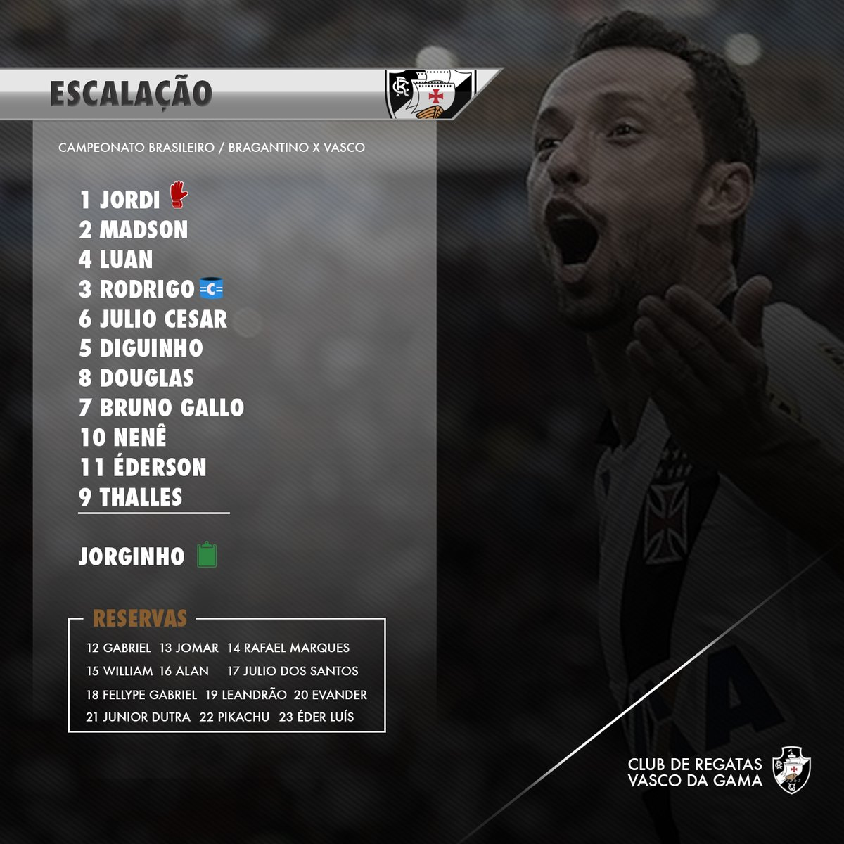 Confira escalação do Vasco  Diguinho é a novidade no time titular - NETVASCO 9f46739c8c9fd