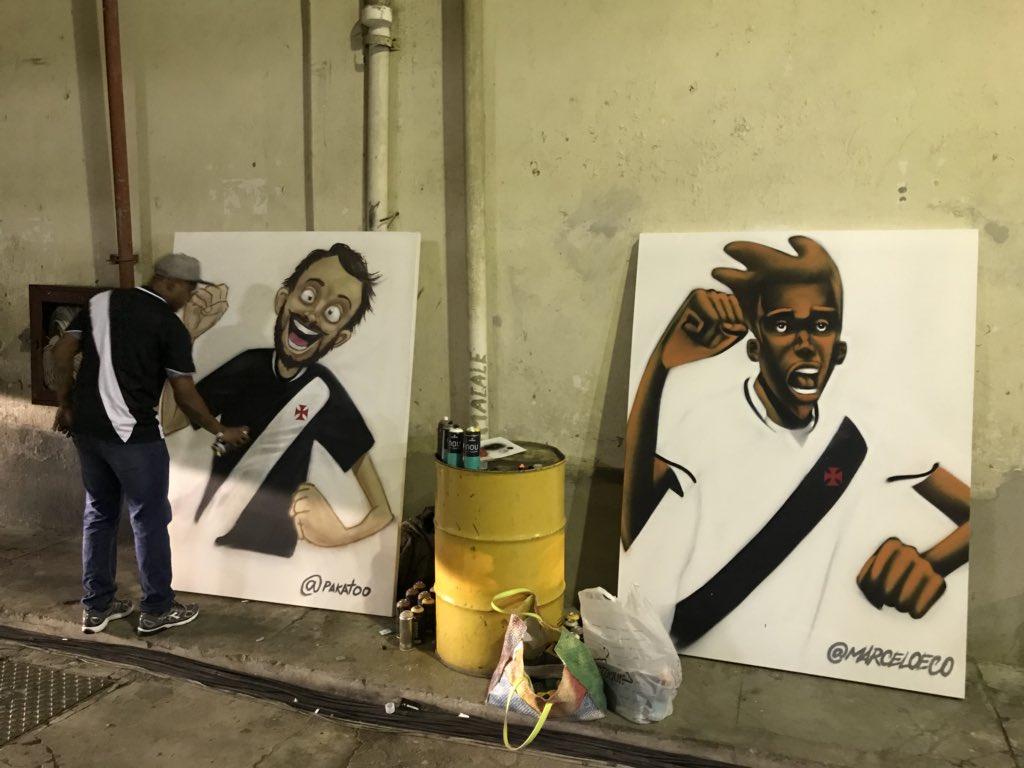O marketing do Vasco contratou o grafiteiro Pakatoo para fazer umas telas  em alusão à estreia da nova camisa da Diadora c44beecb13382