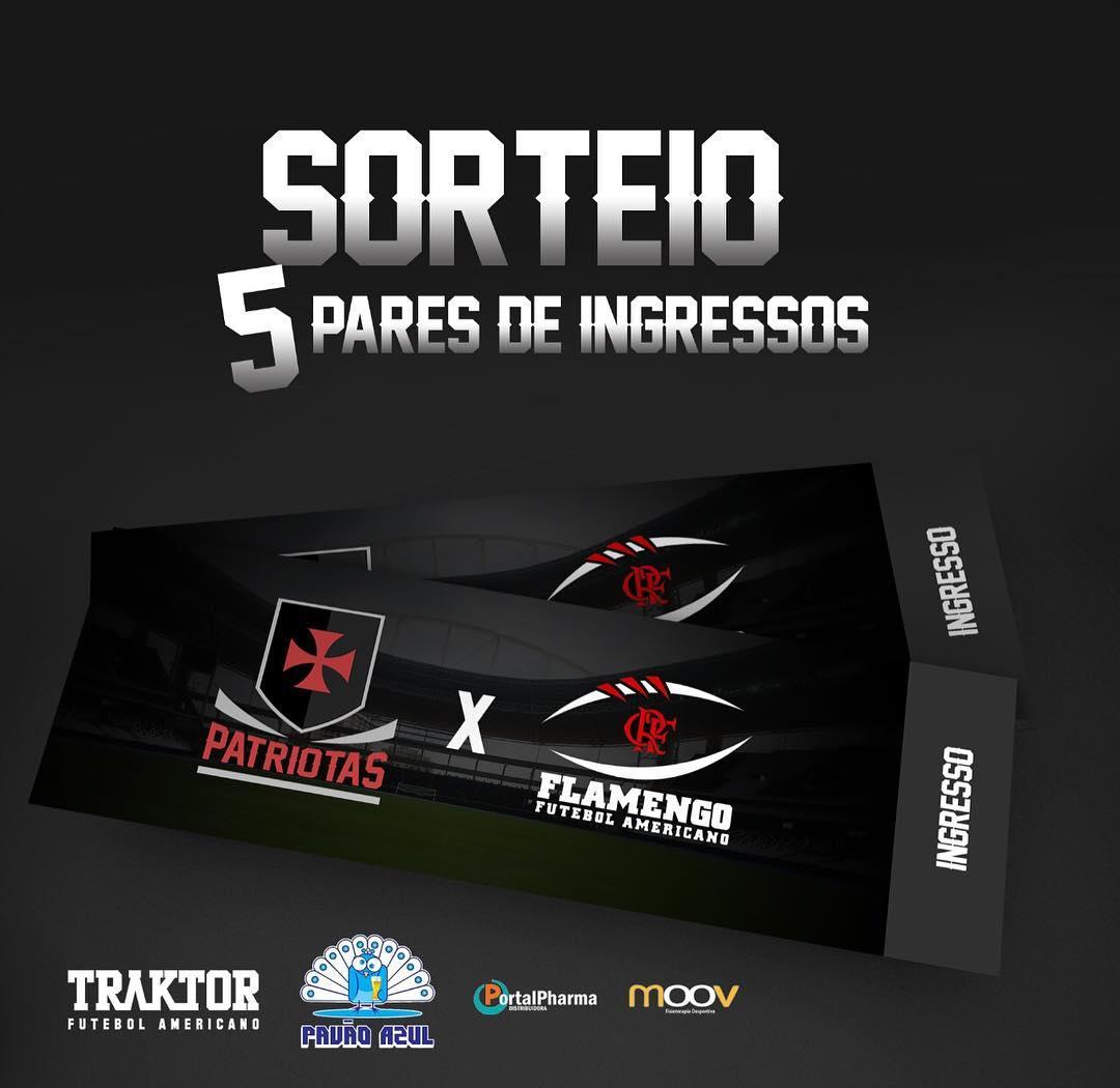 cb9f2aff2e Futebol Americano  Vasco Patriotas sorteia 5 pares de ingressos para ...