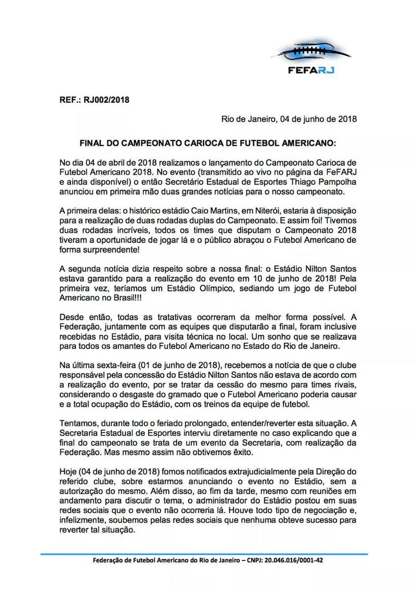 f9e27f1efb Futebol Americano  Botafogo veta e final do Carioca entre Vasco e ...