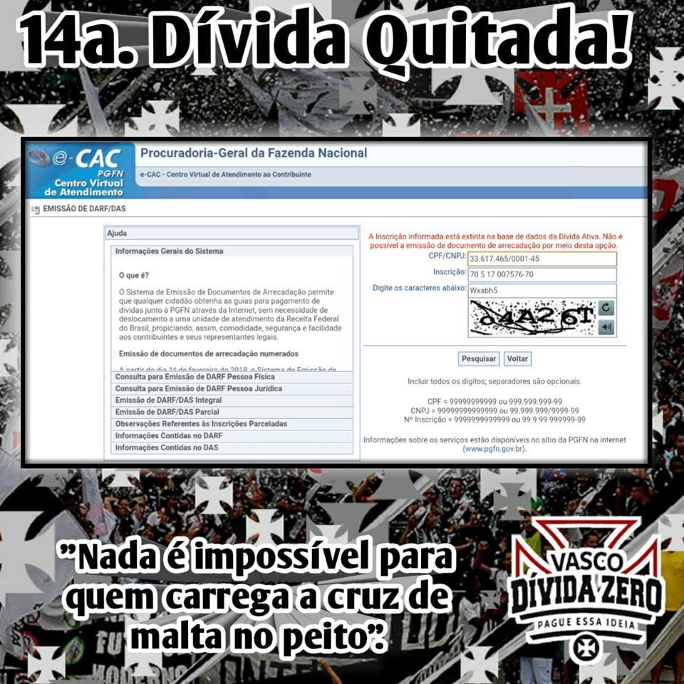 a7a1e8ea6d Vasco Dívida Zero quita mais uma dívida do clube  é a 14ª