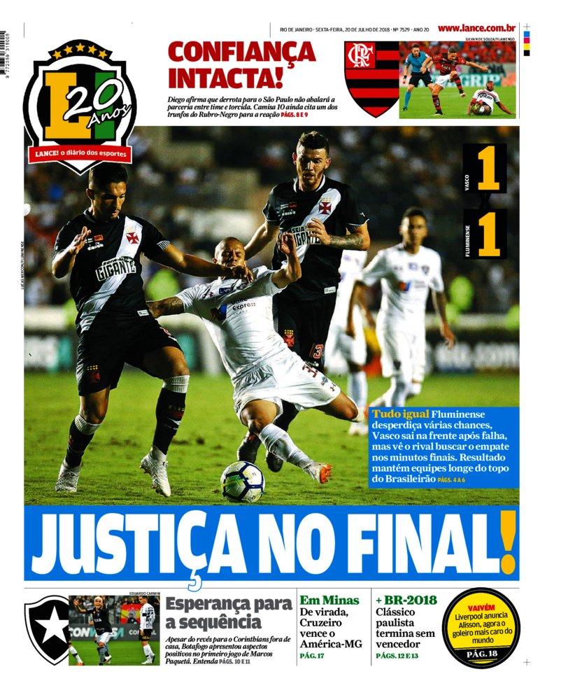0c27e269e0 Veja como a imprensa carioca destacou o empate no clássico Vasco x ...