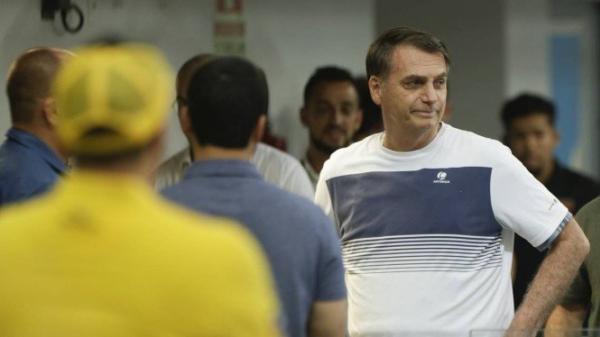 Jair Bolsonaro em um campeonato de jiu-jítsu na Barra