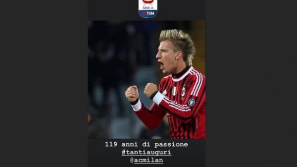 Maxi López em sua mensagem de parabéns ao Milan