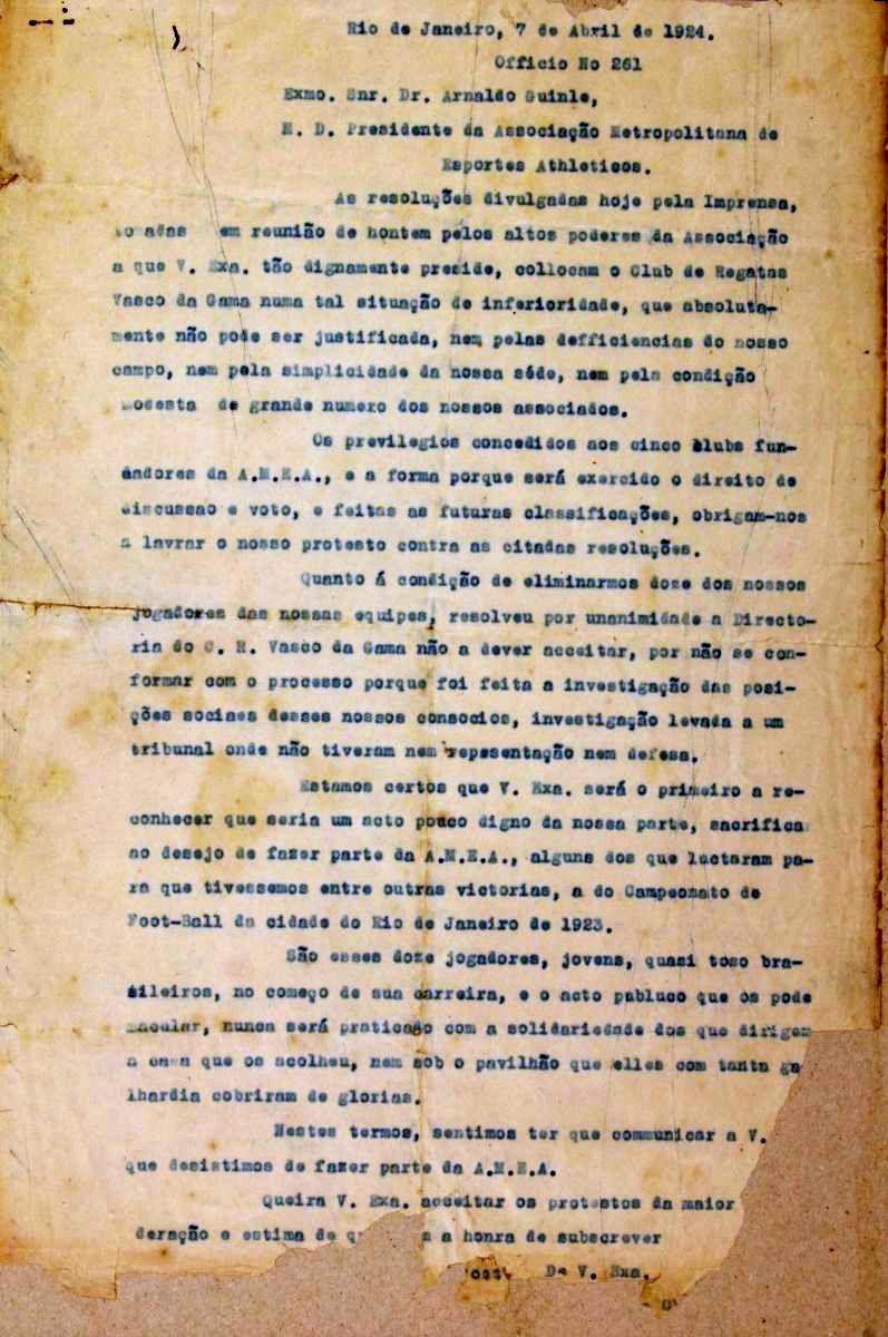 Documento possivelmente original da Resposta Histórica publicado pelo site oficial do Vasco