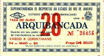 Ingresso de Vasco 5 x 2 Corinthians, em 4 de maio de 1980