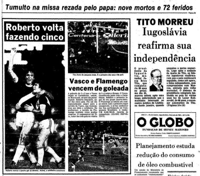 Capa do jornal O Globo
