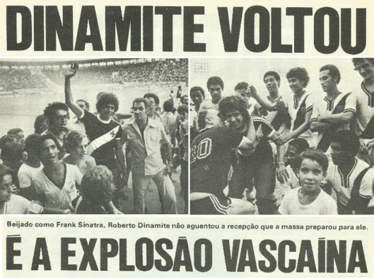Reportagem da revista Manchete  Esportiva sobre a chegada de Dinamite