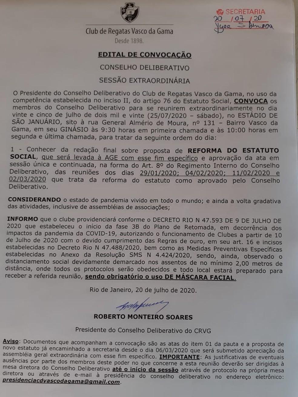 Edital de convocação do Conselho do Vasco para sábado