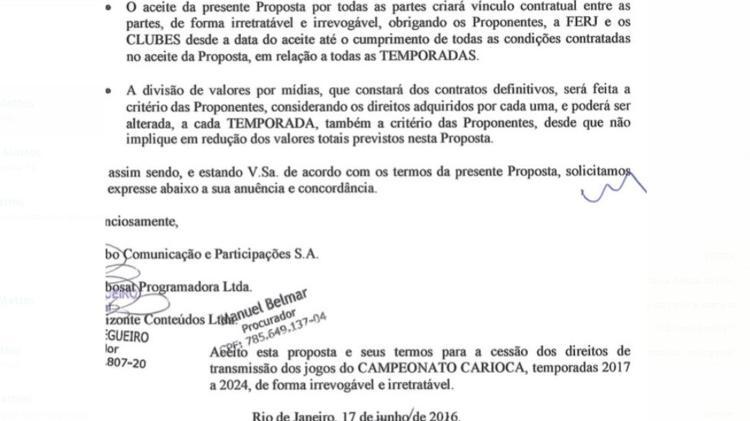 Acordo Ferj-Clubes-Globo assinado para Carioca de 2017 a 2024: vínculo irretratável e irrevogável