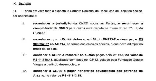 Trecho da decisão da sentença da CNRD que condenou o Vasco a pagar Anderson Martins