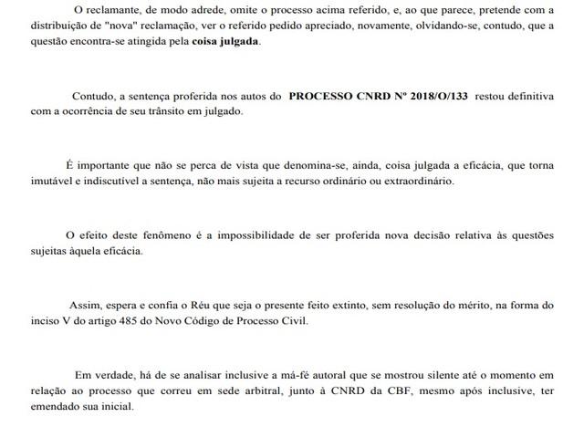 Trecho da defesa do Vasco no processo movido por Anderson Martins