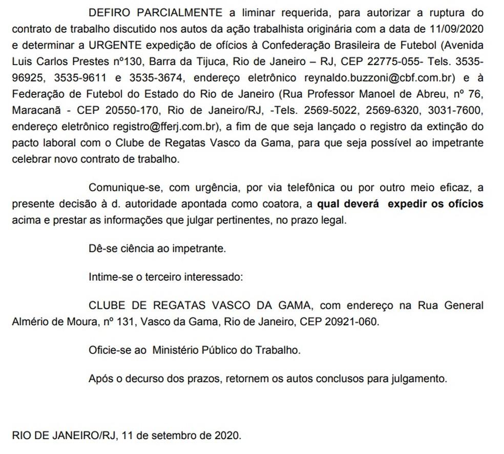 Trecho da decisão judicial que concedeu a rescisão a Galhardo