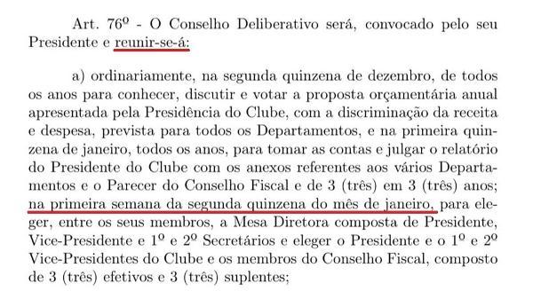 Trecho do estatuto citado por Monteiro cita o prazo da reunião: