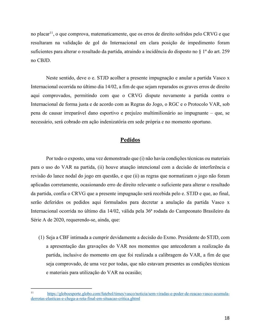 Vasco reitera pedido pelas imagens do VAR do pré-jogo de Vasco x Inter