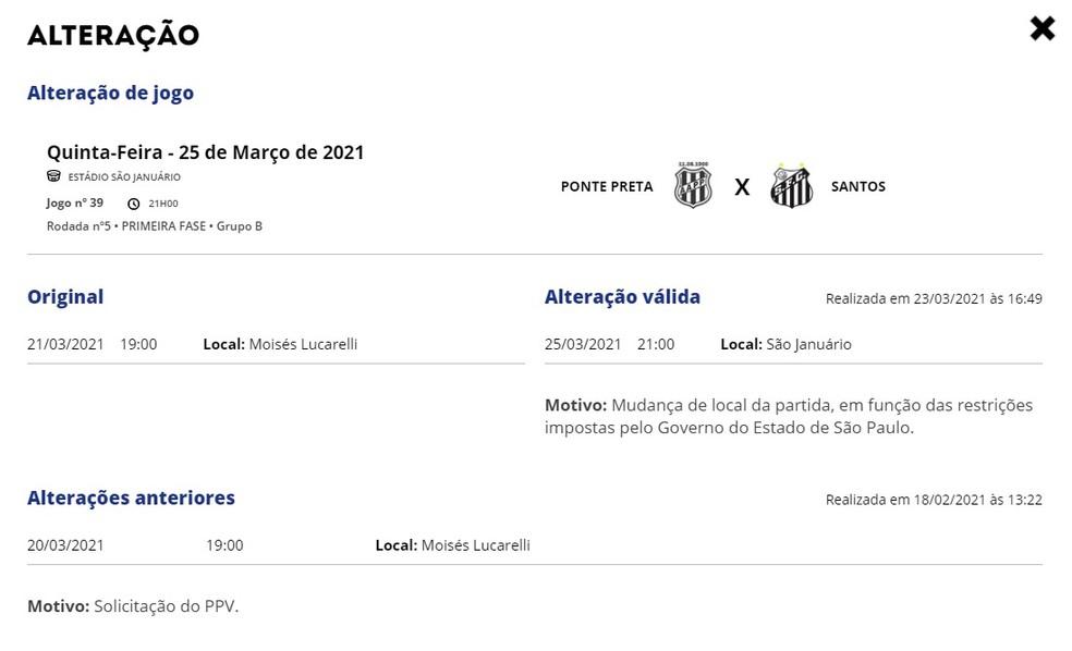 Atualização da tabela do jogo Ponte x Santos no site da FPF