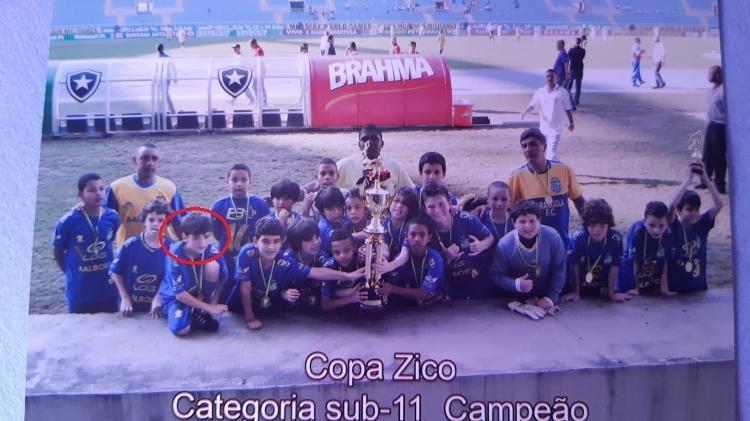 Gabriel Pec quando foi campeão da Copa Zico sub-11, no estádio Nilton Santos, pelo Carangola Futebol Clube