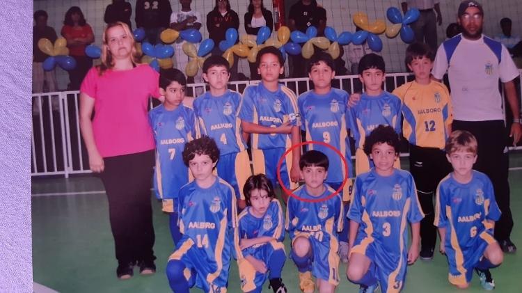 Gabriel Pec nos tempos de futsal, quando o Carangola Futebol Clube aderiu à modalidade