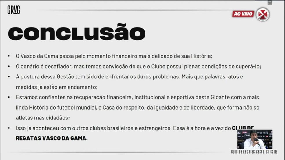 Vasco apresenta balanço financeiro 2020