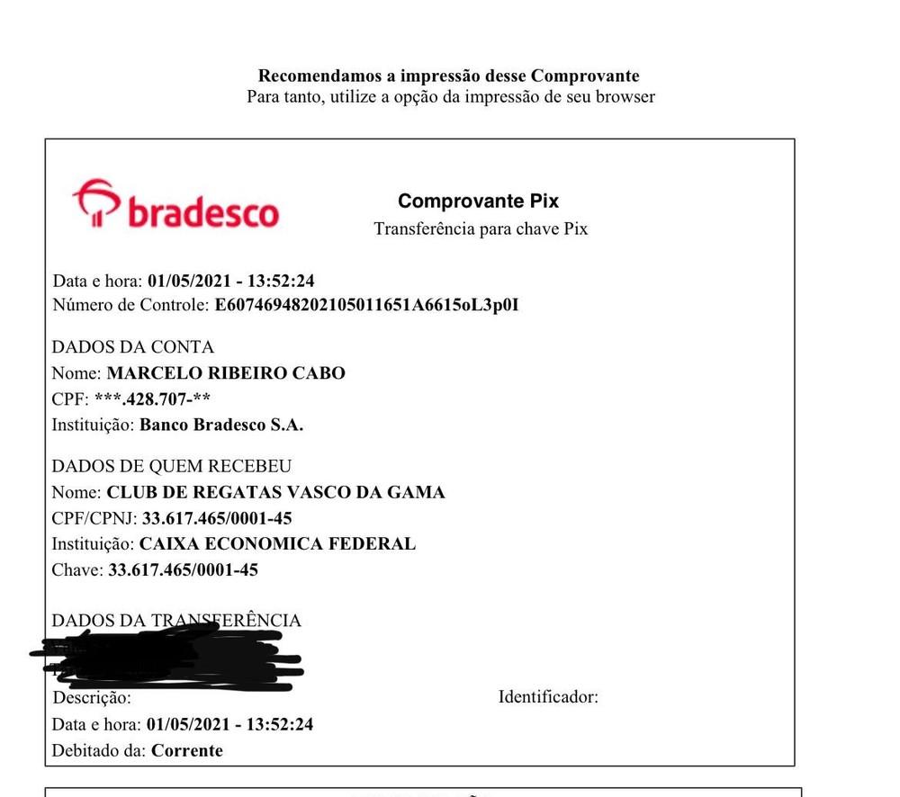 Marcelo Cabo fez doação para o Vasco via #VasPix