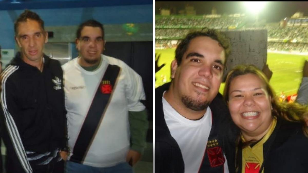 Roberto com Fernando Prass e com a irmã, Roberta.