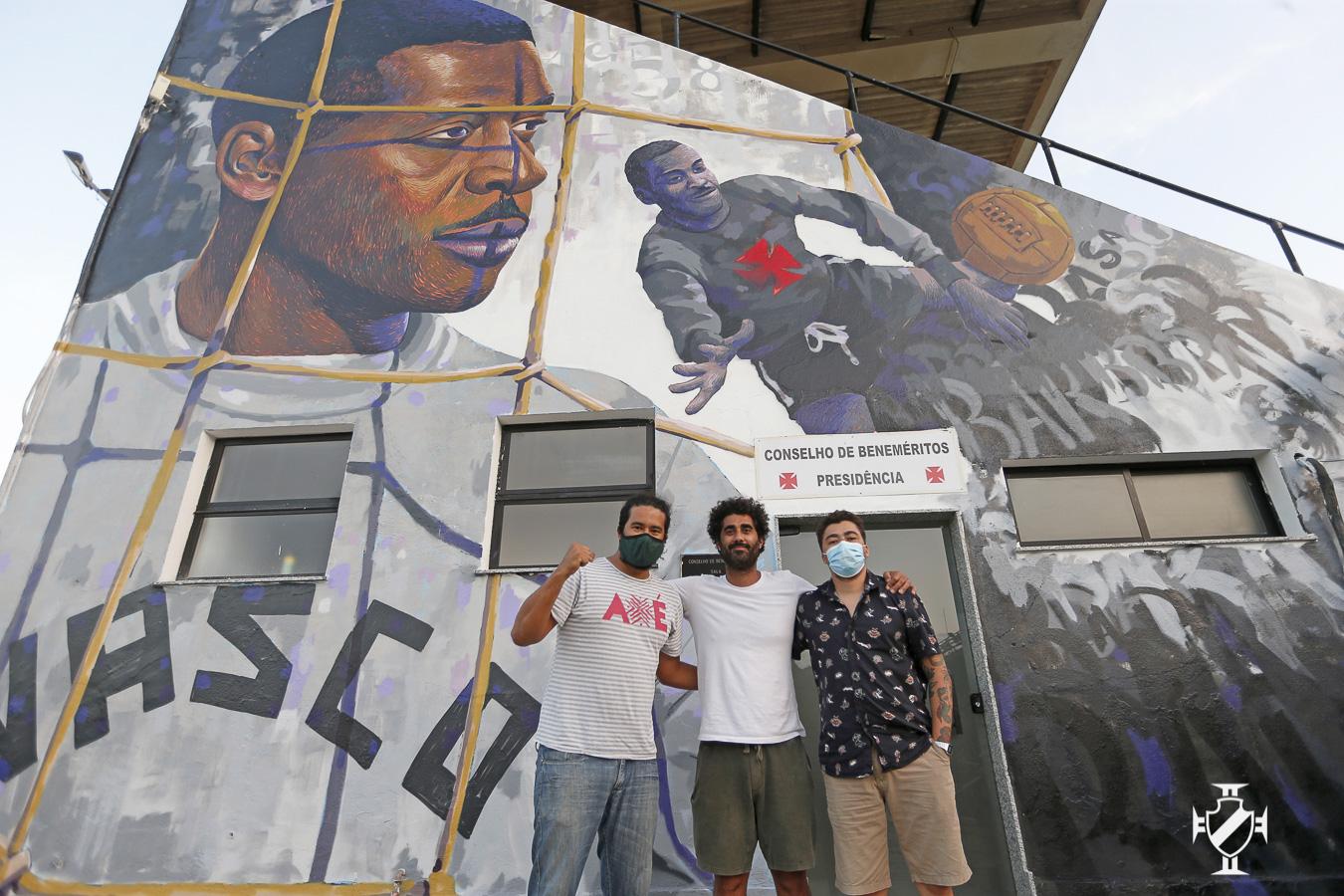 Pedro Rajão, Cazé e Rhuan Gonçalves, idealizadores do muro para Barbosa