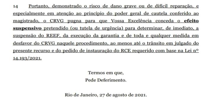 Dispositivo do novo recurso do Vasco desta sexta-feira