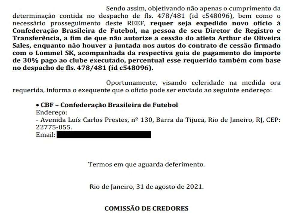Pedido de penhora da venda de Arthur Sales pelo Vasco
